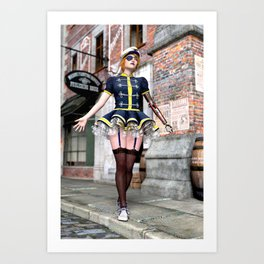 Steampunk Babe with Mechanical Arm Art Print
