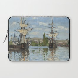 Claude Monet Ships Riding on the Seine at Rouen 18721873 Painting Laptop Sleeve