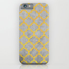 oriental pattern, traditional design, black , yellow, grey  iPhone Case