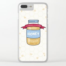 """""""Sweeter Than Honey"""" Bible Verse Print Clear iPhone Case"""