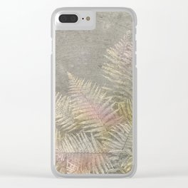 Fossil Rose Gold Fern on Brushed Stone Clear iPhone Case