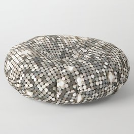 Silver Metallic Glitter sequins Floor Pillow