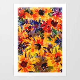 Golden Sunflower Garden Art Print