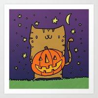 Jack-o-Lantern Kitty Art Print