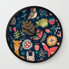 Forest friends - navy Wall Clock