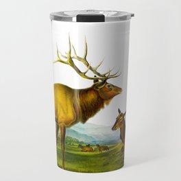 Elk Vintage Scientific Animal Illustration Travel Mug