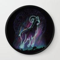 aries Wall Clocks featuring Aries by dan elijah g. fajardo