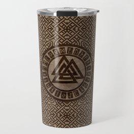 Valknut Symbol and Runes on Celtic Pattern on Wood Travel Mug