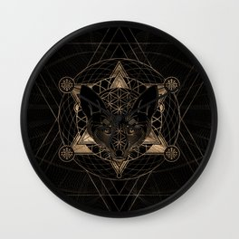 Fox in Sacred Geometry  - Black and Gold Wall Clock