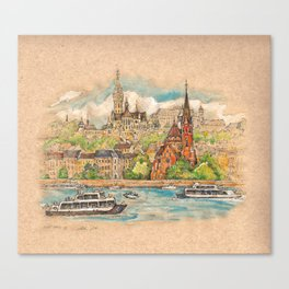 Castle and churches on riverside with boats Canvas Print