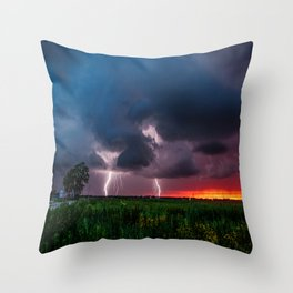 Lightning Bugs - Firefly Whirls About During Summer Storm in Oklahoma Throw Pillow