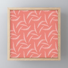 Feather Pattern ~ CORAL ORANGE Framed Mini Art Print