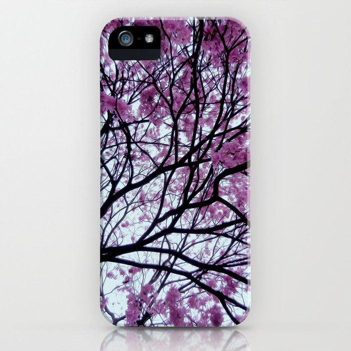 Exotic pink - tropical trees iPhone Case