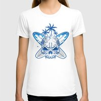 surfboard T-shirts featuring skull on surfboard background by Doomko