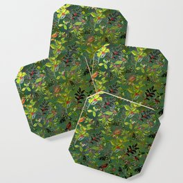 Christmas Pattern with Green Background Coaster