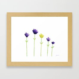 Purple and yellow flowers Framed Art Print