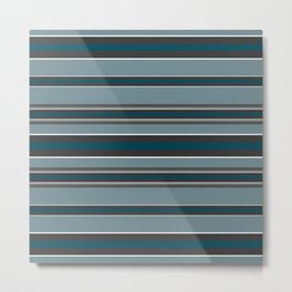 Striped turquoise and gray, green background Metal Print