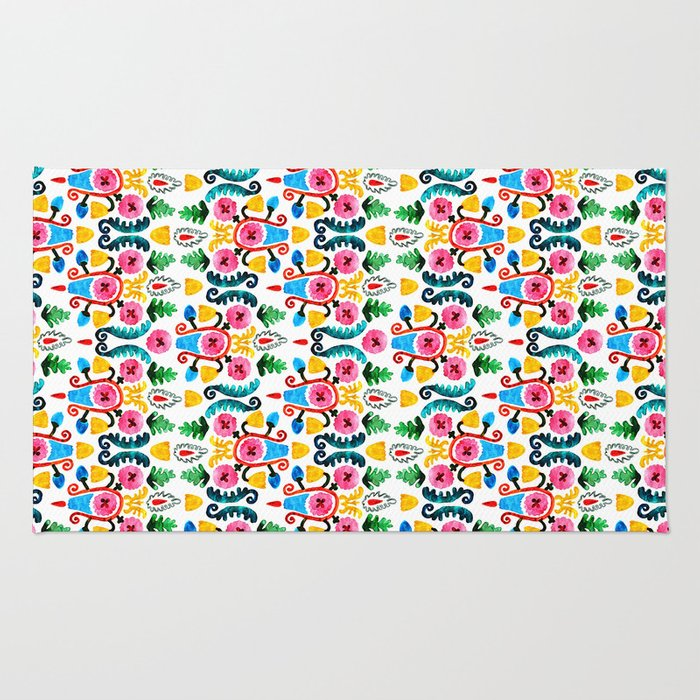 Colorful oriental watercolor floral pattern. Rug