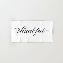 Thankful Calligraphy Hand & Bath Towel
