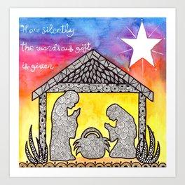 Watercolor Doodle Art   Nativity Scene Art Print