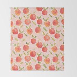 Peaches gouache painting Throw Blanket