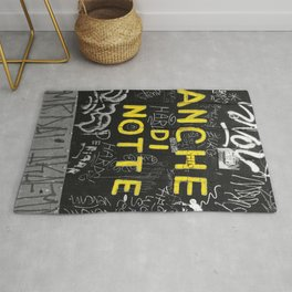 Black and White Yellow Bologna Street Photography Rug