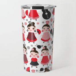 pattern spanish Woman flamenco dancer. Kawaii cute face with pink cheeks and winking eyes. Travel Mug