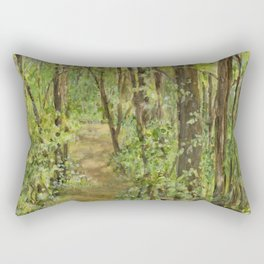 Wooded Path Watercolor Landscape Detailed Realism Rectangular Pillow