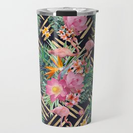 Tropical floral, flamingos and gold strokes pattern Travel Mug