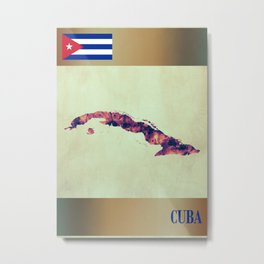 Cuba Map with Flag Metal Print