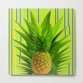 MODERN GREEN HAWAIIAN PINEAPPLE ART Metal Print