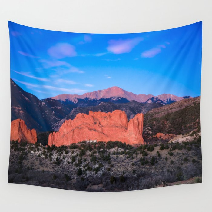Pikes Peak , Sunrise Over Garden of the Gods in Colorado Springs Wall  Tapestry by seanramsey