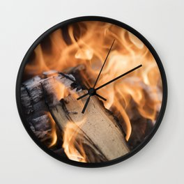 logs on the fire Wall Clock