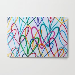 Multicoloured Love Hearts Graffiti Repeat Pattern Metal Print