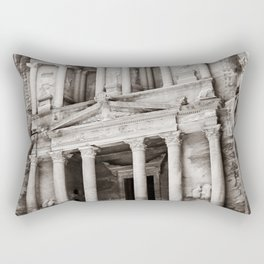 Camels at Petra | Black and White Stunning Stone Monument Hidden Lost City Treasury Carved Cliff Rectangular Pillow