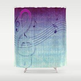 Aqua Purple Ombre Music Notes Shower Curtain