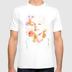 Marilyn Monroe Watercolor Pop Art33 White MEDIUM Mens Fitted Tee
