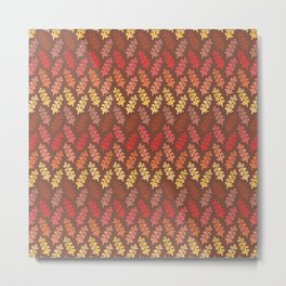 Warm Autumn Leaves Pattern Metal Print