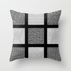 Black and Gray Waves Throw Pillow