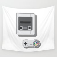 nintendo Wall Tapestries featuring Super Nintendo by Di No