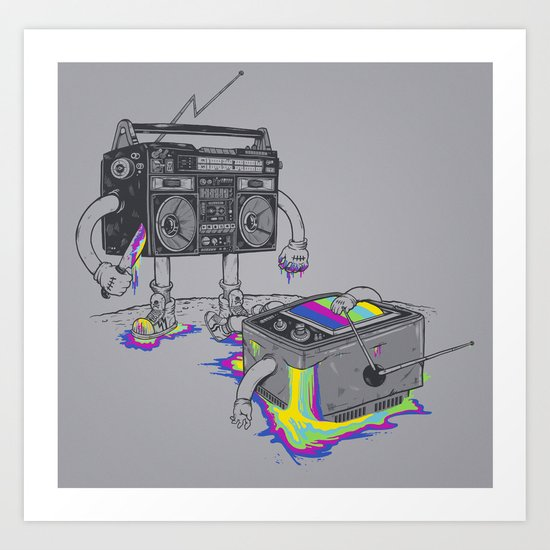 Revenge of the radio star Art Print