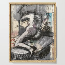 Reclining mixed media figure drawing in black and white Serving Tray
