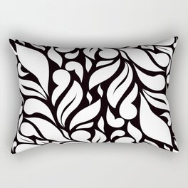 Abstract Leaves - Black and White Rectangular Pillow