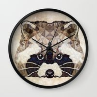racoon Wall Clocks featuring Racoon by Ancello