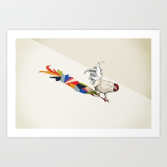 Walking Shadow, Rooster Art Print