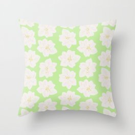 Watercolor Magnolias in Key Lime Throw Pillow