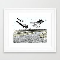 airplanes Framed Art Prints featuring Airplanes over the water by Michael Mann