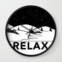 relax Wall Clocks featuring Relax by notalkingplz