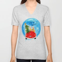 Dashing Through The Snow - Holiday Car Christmas Tree Unisex V-Neck