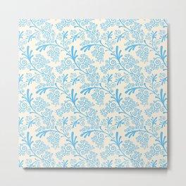Vintage chic pastel blue ivory floral damask pattern Metal Print